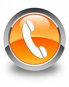 Phone Icon Glossy Orange Round Button