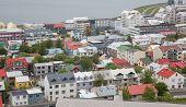 Reykjavik houses aerial view, Iceland