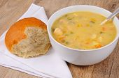 picture of cod  - Fish chowder soup including smoked haddock cod salmon and vegetables served with a bread roll - JPG