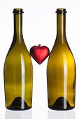 Empty Bottles Of Wine And Love Symbol