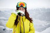 Ski, skier, winter - Closeup of smiling skier woman