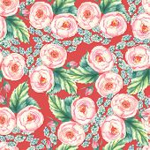 Hand drawn watercolor floral seamless pattern with tender pink roses in vector on the red background