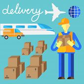 Delivery flat set of logistics packing and process delivery