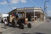 Tractor at the street of Pinar del Rio, Cuba.