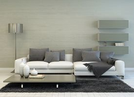 picture of floating  - 3D Rendering of Modern Grey and White Living Room with Floor Lamp - JPG
