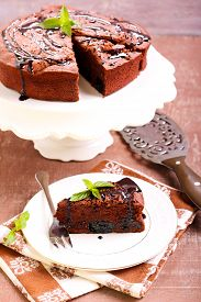 picture of torte  - Prune and chocolate torte slice - JPG