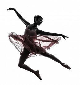 stock photo of  dancer  - one woman ballerina ballet dancer dancing in silhouette on white background - JPG