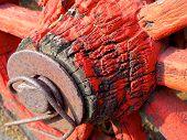 picture of wagon wheel  - The closeup of antique wagon wheel at farmhouse - JPG