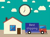picture of lorries  - Fast and accurate shipping concept - JPG