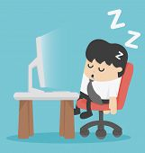 foto of sleeping  - businessman sleep at his office Illustration Cartoons concepts - JPG