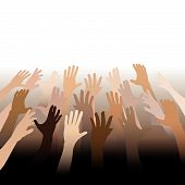 Diverse People Hands Reach Up Out To Copy Space