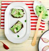 pic of canapes  - canape with cottage cheese greens and a garden radish - JPG