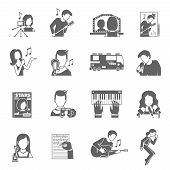 foto of singer  - Pop star singer famous musician black icons set isolated vector illustration - JPG