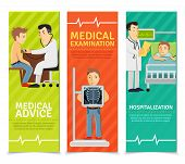 picture of medical examination  - Medical examination vertical banners set with examination advice hospitalization elements isolated vector illustration - JPG