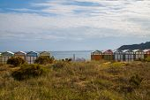 picture of beach hut  - Colorful beach huts in good weather. 