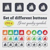 stock photo of cash register  - Cash register icon sign Big set of colorful diverse high - JPG