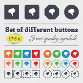picture of dislike  - Dislike Thumb down icon sign Big set of colorful diverse high - JPG