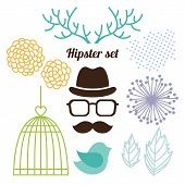 foto of caged  - Hipster set with men face cage horns and flowers - JPG