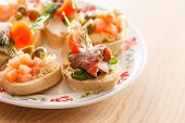 foto of canapes  - canape on the plate - JPG