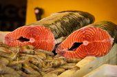 image of redfish  - Sliced Fresh Raw Salmon Fish in Market - JPG