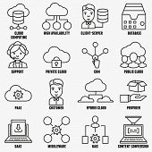 picture of vpn  - Set of vector linear cloud computing icons  - JPG