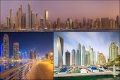 picture of dubai  - Collage of the beauty panorama at Dubai marina - JPG