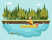 picture of rod  - Fisherman with Fishing Rod Boat Forest and Birds Background Concept Character Icon Flat Design Landscape Template Vector Illustration - JPG