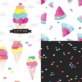 stock photo of cone  - Seamless colorful kids water melon and ice cream cones illustration love summer background pattern set and summer ice cream postcard cover design in vector - JPG