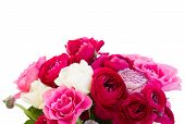 picture of bunch roses  - bunch of pink  ranunculus and roses close up isolated on white background - JPG