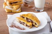 picture of french toast  - French toast stuffed with chocolate and banana fresh milk clean composition - JPG