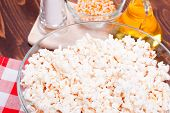 image of popcorn  - popcorn and ingredients cooking popcorn top view