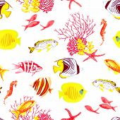 image of algae  - Bright fishes and algae watercolor seamless vector pattern - JPG