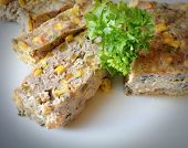 stock photo of sweet-corn  - casserole of minced meat with corn and sweet pepper - JPG