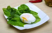 stock photo of benediction  - Egg benedict with salasd leaves on the wood background - JPG