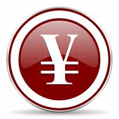 foto of yen  - yen red glossy web icon