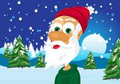 foto of skinny  - illustration of funny skinny santa claus wearing green sweater and red woolen cap - JPG