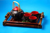 image of serving tray  - Asian tea set served on a bamboo tray - JPG