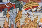 image of courtier  - The King go to war in Thai style painting - JPG