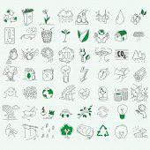 picture of biodiesel  - Ecology organic signs eco and bio elements in hand drawn style nature planet protection care recycling save concept - JPG