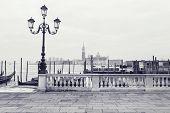 pic of gondola  - Gondolas on Grand Canal and San Giorgio Maggiore church in Venice - JPG
