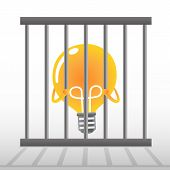 picture of caged  - Yellow Bulb In Cage  - JPG