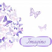 stock photo of semi-circle  - Greeting card featuring butterflies in pink - JPG