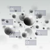 foto of molecules  - Three dimensional glowing steel spheres - JPG