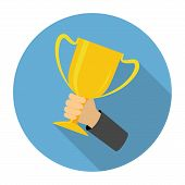 pic of trophy  - Vector trophy cup flat icon on blue background - JPG