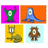 picture of animal eyes  - illustration of cartoon funny one eyed colorful animals namely - JPG