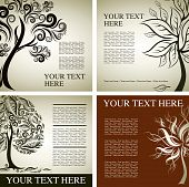 Four Vector samples of design with decorative tree