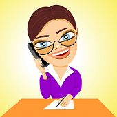 foto of secretary  - illustration of cartoon smiling secretary with glasses making an entry in a sheet of paper and talking on phone - JPG