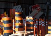 Traffic Barricades Stored In Shed