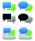 stock photo of oval  - Speech talk bubble symbols and buttons with 2 overlapping shape - JPG
