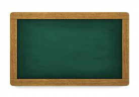 image of chalkboard  - Education training and school blank wooden blackboard or chalkboard with empty space for your copy on white background - JPG